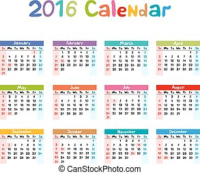 2016, gosses, -, illustration, main, vecteur, calendrier, fait