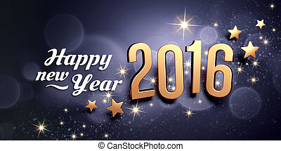 2016 Greeting card - Gold 2016 year type and greetings on a ...