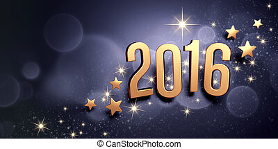 Gold 2016 year type on a black festive background