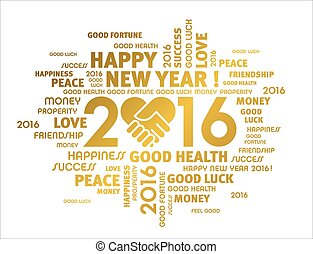 2016 Greeting card - Gold greeting words around 2016 year...