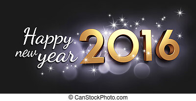 2016 Greeting card - Gold 2016 year type and greetings on a...