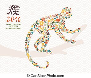 2016 happy chinese new year of monkey icons card - 2016...
