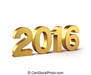 2016 Happy New Year - 3D New Year gold 2016 isolated on...