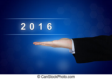 2016 happy new year button on blue background