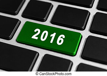 2016 happy new year button on keyboard