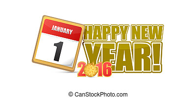 2016 happy new year calendar