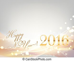 2016 happy new year card with sparkling gold lights, stripes, light waves, on gray