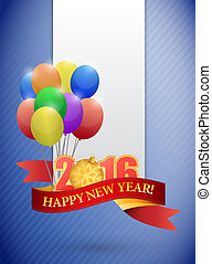 2016 happy new year ribbon and balloon card