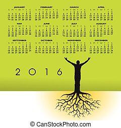 2016, homem, com, raizes, calendário