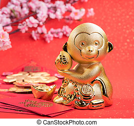 2016 is year of the monkey, golden monkey with decoration, calligraphy fu mean good bless
