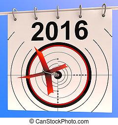 2016, kalendarz, tarcza, widać, planowanie, roczny, porządek...
