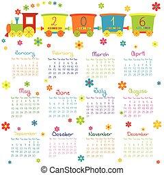 2016, kalender, met, de trein van het stuk speelgoed, en, bloemen