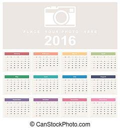 2016., kalender, startar, söndag, vecka