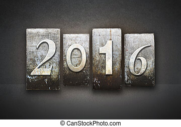 The year 2016 written in vintage letterpress type
