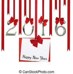 2016, liczba, i, boże narodzenie, powitanie karta, wisząc dalejże, czerwony, wstążki