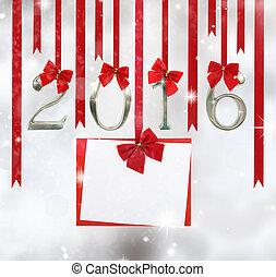 2016, liczba, upiększenia, i, powitanie karta, wisząc dalejże, czerwony, wstążki