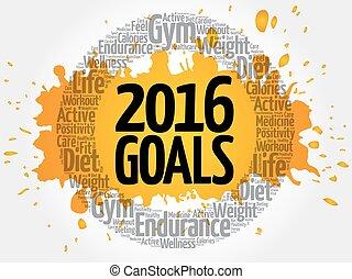 2016, metas, círculo, palavra, nuvem