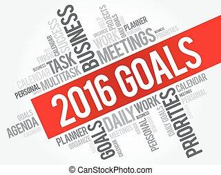 2016, metas, palavra, nuvem
