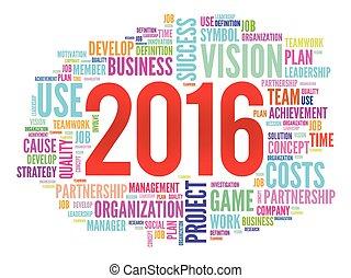 2016, metas, plano, projeto, palavra, nuvem