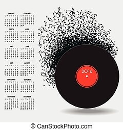 2016 Music Calendar With Notes for Print or Web