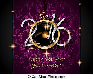 2016, natal, e, feliz ano novo, partido, voador