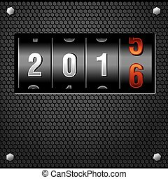 2016 New Year Analog Counter detailed vector
