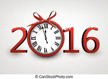 2016 New Year card with clock.