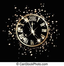 2016 New Year card. - 2016 New Year card with clock. Vector ...