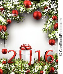 2016 New Year card. - 2016 New Year card with fir branches ...