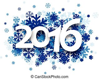 2016 New Year card. - 2016 New Year card with snowflakes. ...