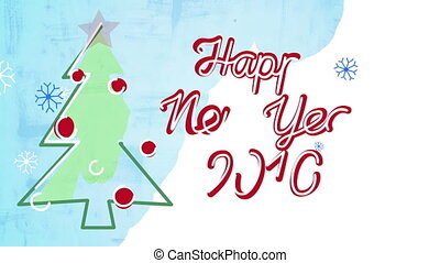 2016 new year card child's drawing style animation