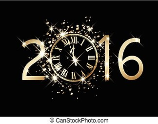 2016 New Year card.  - 2016 New Year card with clock.