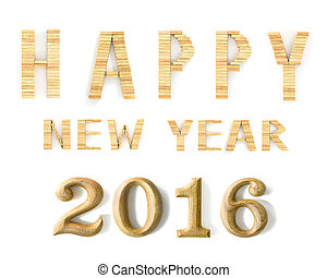 2016 New Year in shape from wooden