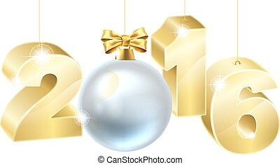 2016 New Year or Christmas Bauble Design