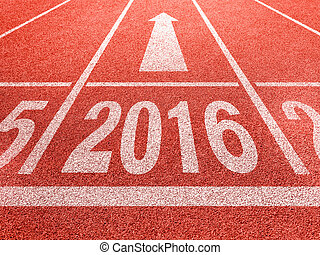 2016 new year perspective and success concept. White digids...