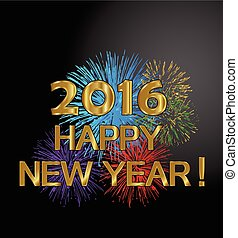 2016 new year with fireworks - Happy new year 2016 fireworks...