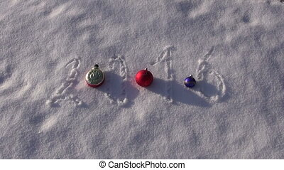 2016 new year written on snow and various vintage Christmas...