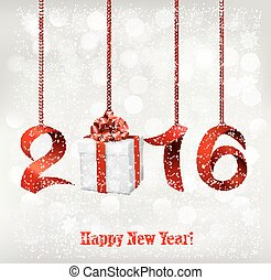 2016 New Years background with gift. Vector.