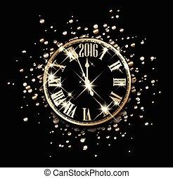 2016, nouvel an, card.