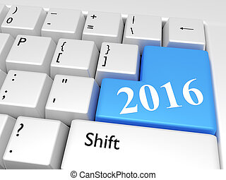2016, nový rok, nad, klaviatura