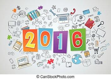 2016, nueva corporación mercantil, año, garabato, mano,...