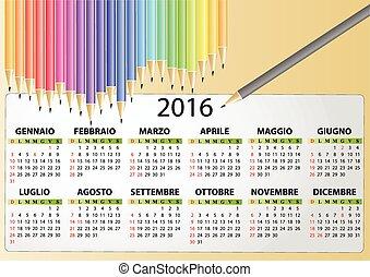 2016 pencil calendar