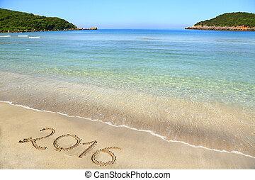 2016, pisemny, na, piaszczysta plaża