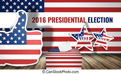 2016 presidential election america flag 3d render
