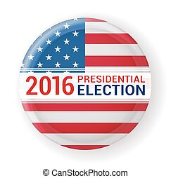 2016 presidential election badge with flag. vector illustration