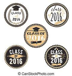 2016., printable., decorazione, università, evento, graduazione, etichette, stickers., vettore, graduazioni, set, festa, collezione, tesserati magnetici, classe scolastica, alto, graduate., o