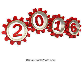 2016 Red Gears - Red gears with red numbers 2015. White...