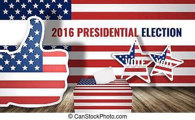 2016, render, bandeira, eleição, américa, presidencial, 3d