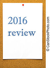 2016 Review - adhesive label pinned