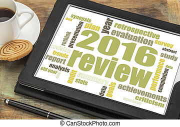 2016 review word cloud on tablet